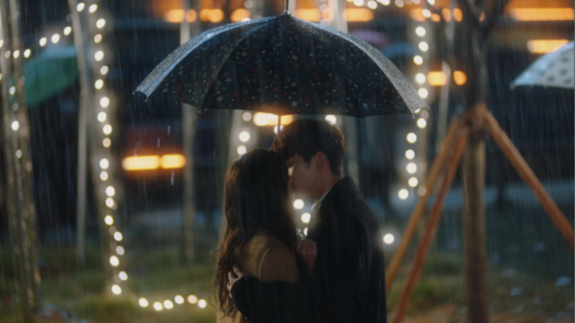 雨の中キスをするミンギュとジア