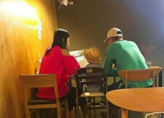 長男と夫の3人で食事をするチョンジヒョン