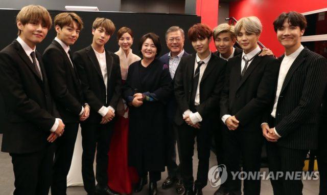 BTSメンバーと文大統領
