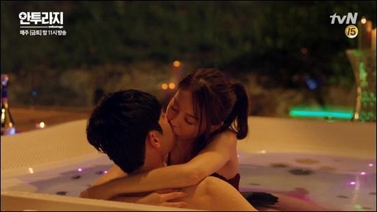 ソガンジュンとアンソヒの濃厚な入浴キス