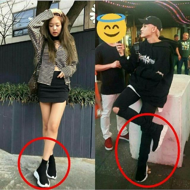 ジェニとテヨンのお揃いの黒い靴